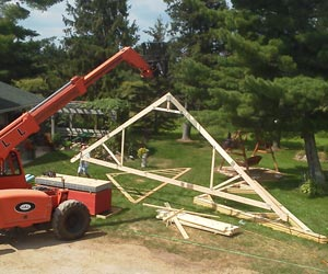 lifitng-rafters-for-garage-construction